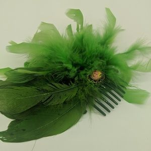 Green Feather Hair Comb